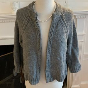 ELIE TAHARI elegant short zippered alpaca cardigan